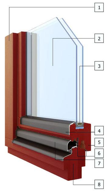 Разрез окна из меранти